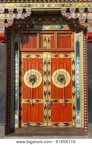 Buddhist monastry entrance door in Kathmandu Nepal poster
