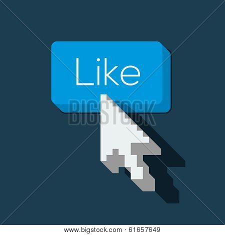 Like us Button with Arrow Shaped Cursor