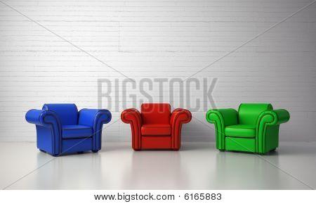 Three armchairs