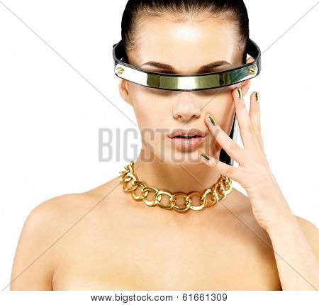 Closeup portrait of woman with golden nails and gold chain on neck isolated on white background