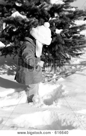 Baby In Snow Blackwhite