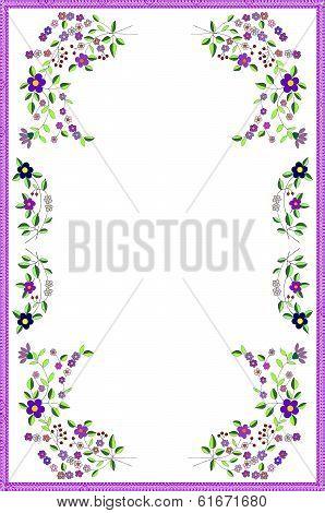 arrangement of painterd flowers as pattern for tablecloth