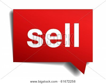 Sell Red 3D Realistic Paper Speech Bubble Isolated On White