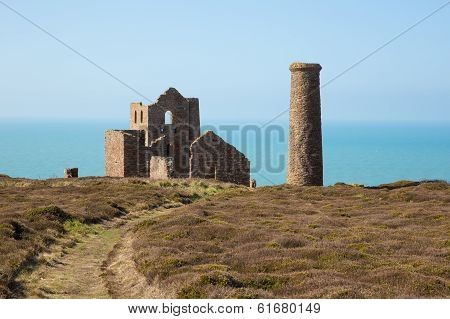 Coast Path Cornwall England UK a tin mine near St Agnes Beacon