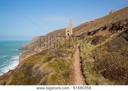 Coast path Cornwall tin mine England UK near St Agnes Beacon