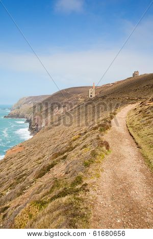 South West Coast Path Cornwall England UK a tin mine near St Agnes Beacon known as Wheal Coates