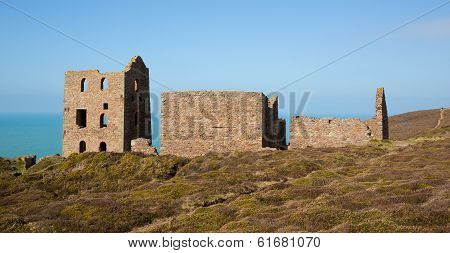 Disused Cornish tin mine England UK