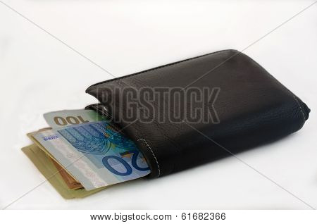 Black Leather Bi-Fold Wallet on a White Background