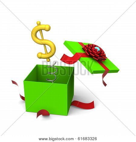 Dollar symbol springing out from a gift box