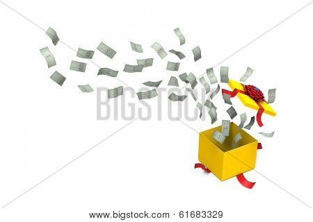 Dollar bank splashed from a gift box