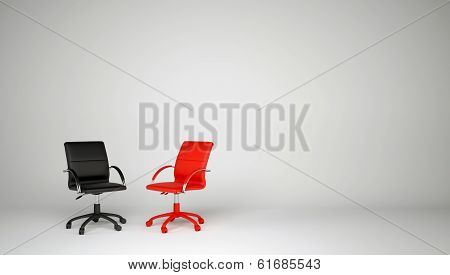 Two office chairs. The concept of dialogue
