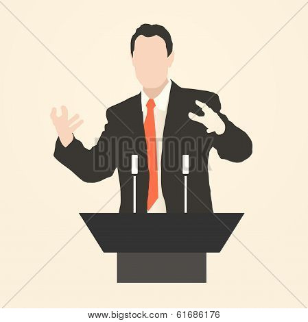 speaker icon. orator speaking from tribune vector illustration poster