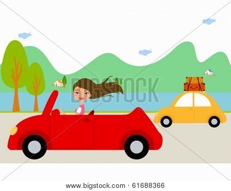 Pretty girl in red car