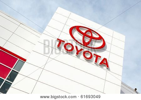 Toyota Emblem Outside A Car Dealership