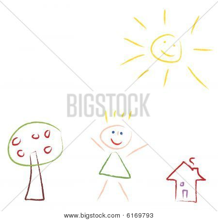 Kids drawing picture - vector