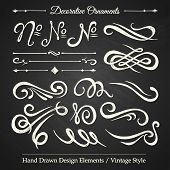 DECORATIVE ORNAMENTS - hand drawn design elements vintage style on chalkboard poster