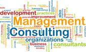 Word cloud concept illustration of management consulting poster