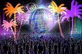 Digitally generated nightlife background with people dancing and disco ball poster