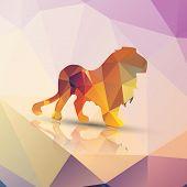 Geometric polygonal lion, pattern design, vector illustration poster