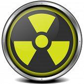 illustration of a metal framed radiation icon, eps10 vector poster