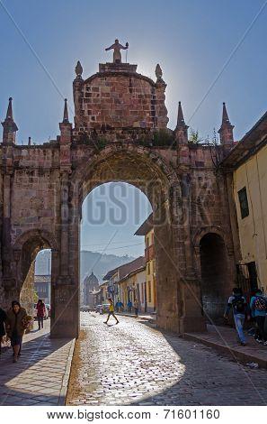 CUZCO, PERU, MAY 1, 2014: Arco de Santa Clara near Colegio Nacional de Ciencias