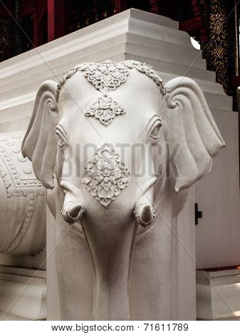 White Elephant Statue In Chiang Mai, Thailand