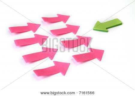 Be Different - Many Paper Arrows In One Direction And One Arrow In Opposite