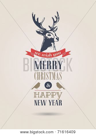 Christmas vintage card, retro air mail concept with deer