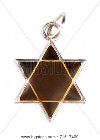 Star David pendant isolated on white