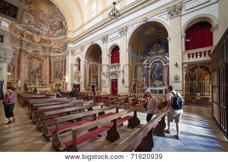 DUBROVNIK, CROATIA - MAY 28, 2014: Inside of Jesuit church of St. Ignatius. The church and collegium complex is considered to be the finest baroque set of buildings in Dubrovnik.