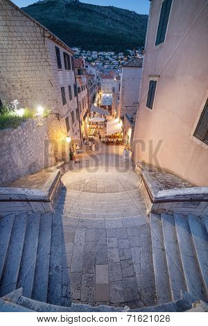 DUBROVNIK, CROATIA - MAY 26, 2014: Night shot of Jesuits staircase, the grand staircase that leads from Gundulic Square to the square in front of Collegium Ragusinum and St. Ignatius Church.