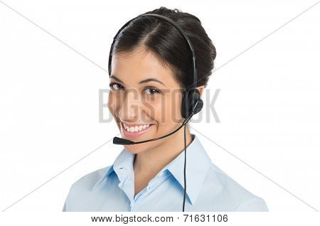 Portrait Of Happy Young Businesswoman Wearing Headset Isolated White Background