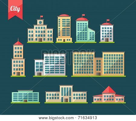 Set of flat design buildings icons