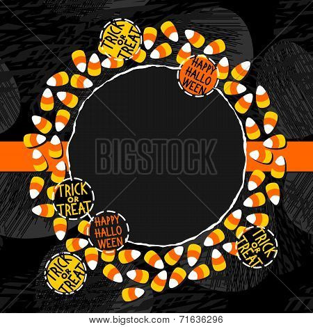 Halloween candy wreath with round badges holiday card