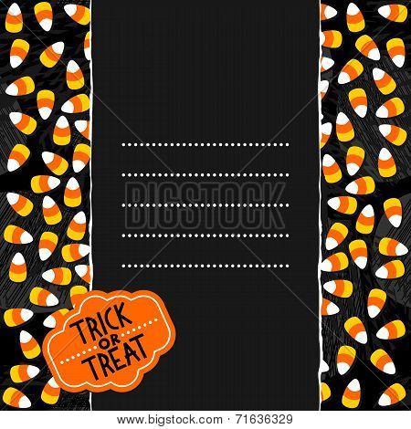 Halloween candy colorful card with dark vertical torn paper