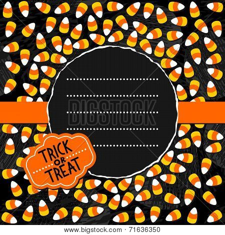 Halloween candy colorful card with dark round torn centerpiece and retro badge