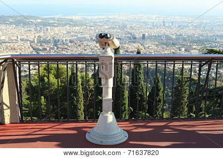 Coin operated binoculars overlooking Barcelona from mountain Tibidabo poster