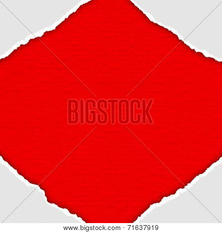 Frame of white lacerated papers on red background