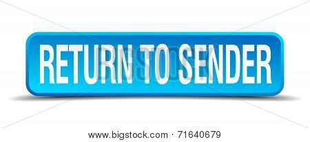 Return To Sender Blue 3D Realistic Square Isolated Button