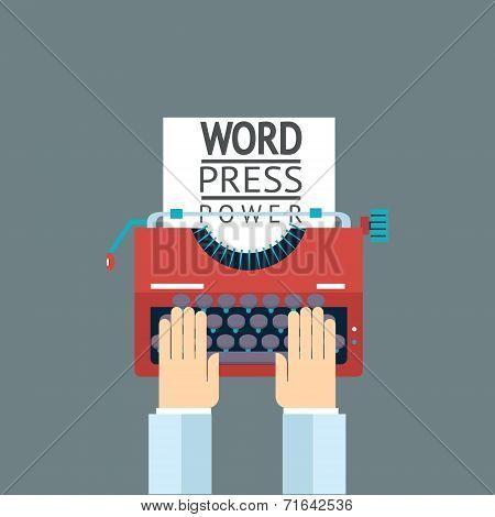Word Power Mass Media Symbol Press Hand Typewriter Journalist Icon on Stylish Background Modern Flat