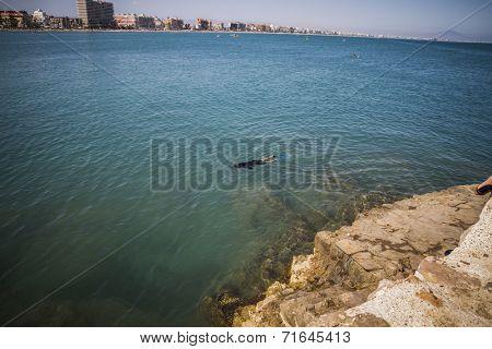 tourist, mediterranean scene, peniscola city located in spain