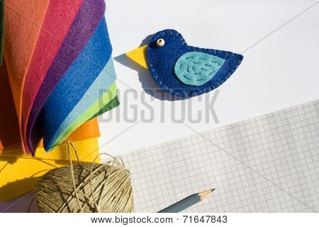 Still Life With Blue Handmade Bird
