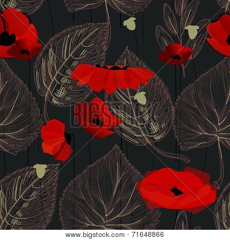 Poppy flowers and leaf seamless pattern over black