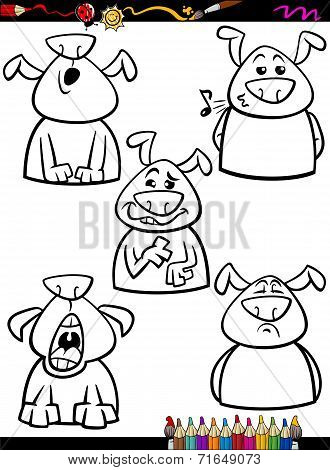Dog Emotion Set Cartoon Coloring Page