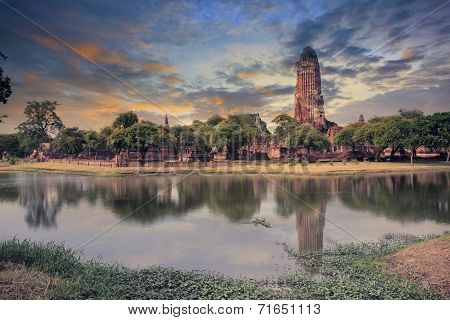 Land Scape Of Ancient And Old  Pagoda In History Temple Of Ayuthaya World Heritage Sites Of Unesco C