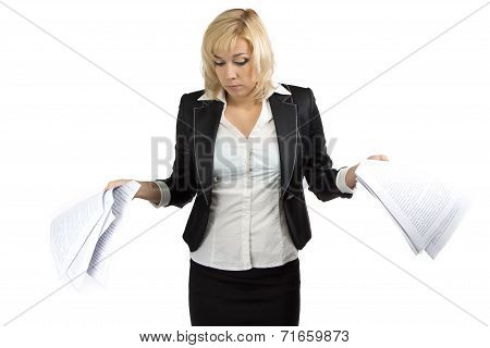 Surprised business lady with white sheets