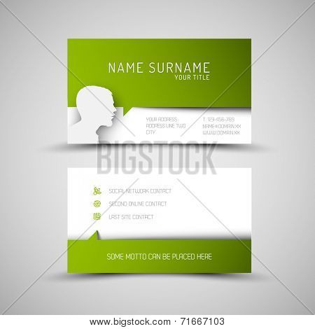 Modern simple green business card template with user profile and big speech bubble