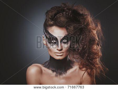 fashion crow girl with white eyes
