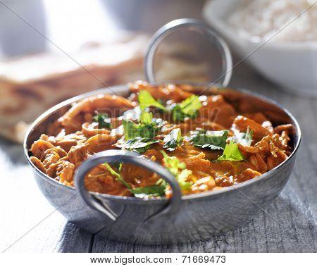 indian chicken tikka masala in balti dish