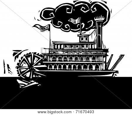 Stern Wheel Riverboat In Dark River